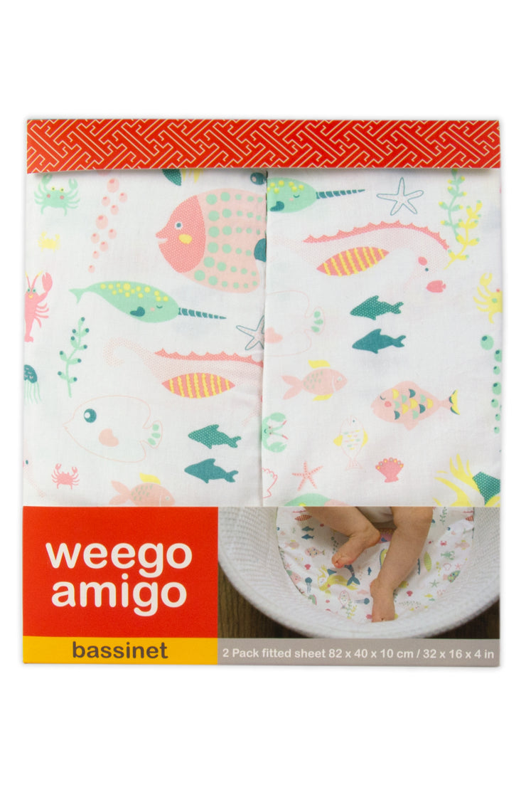 Weego Bass Fitted Sheet - Mermaid 2pk