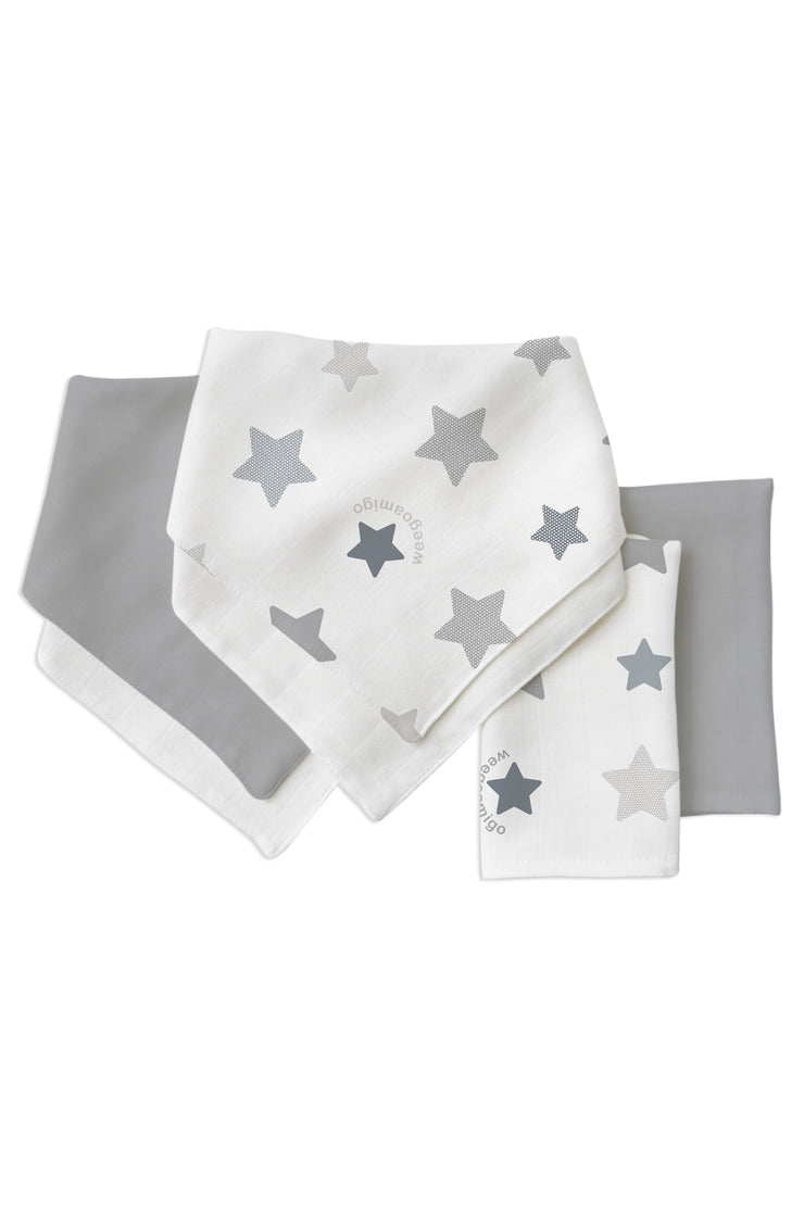 Weego Bamboo Bib/ Washer Multi Pack - Stars Grey