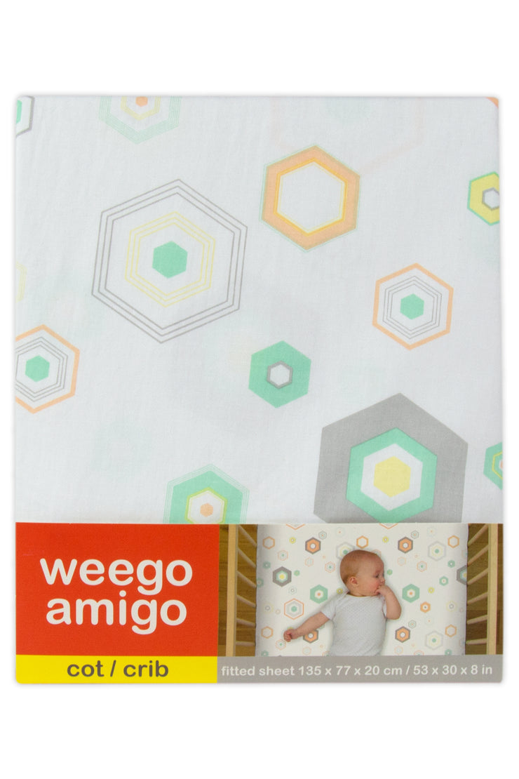 Weego Cot Fitted Sheet - Hexagon