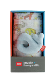 Holey Rattle + Muslin - Whale