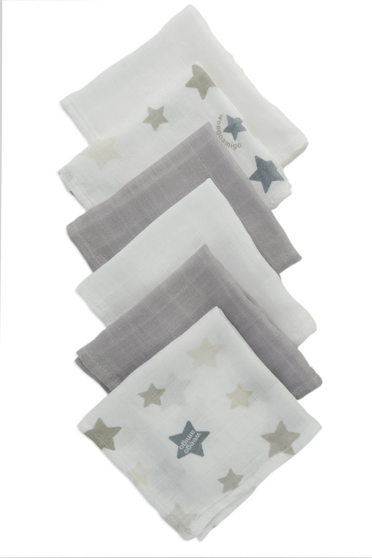 Weego Bamboo Washer 6pk - Stars Grey
