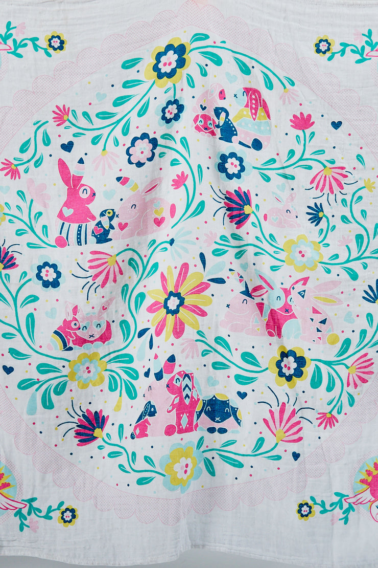 Weego Muslin 1pk Prints WOW - Snuggle Bunnies