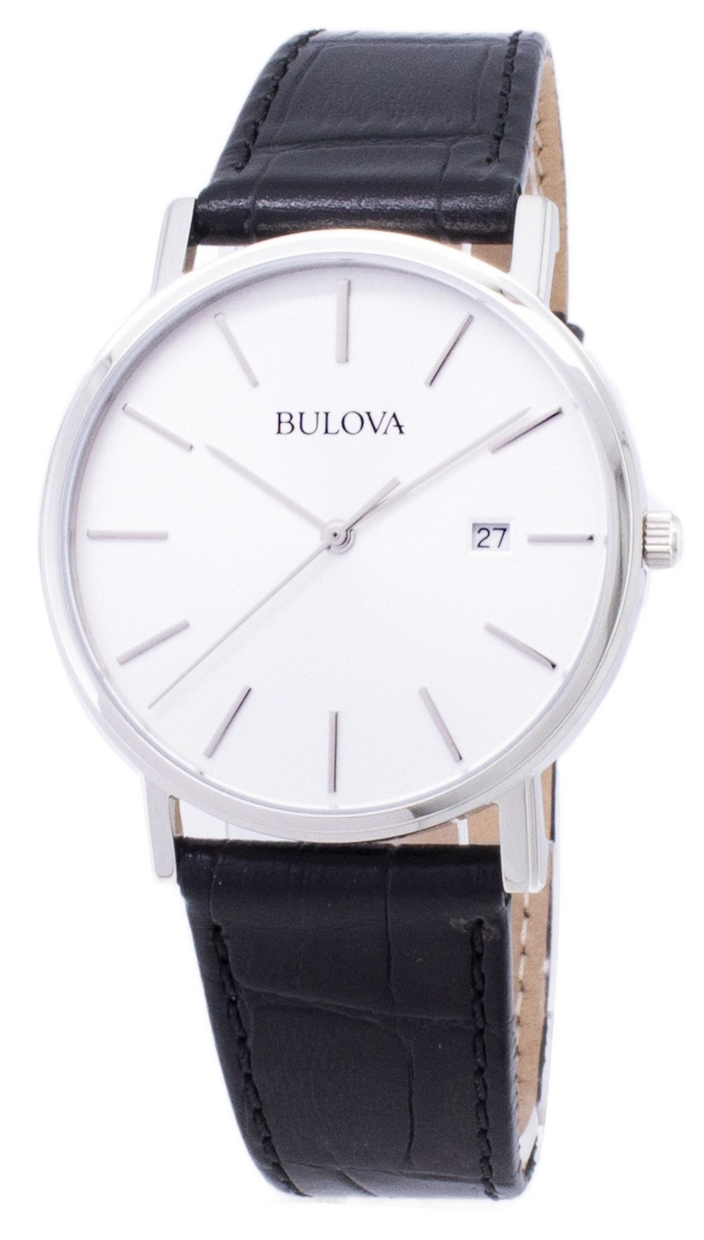 Bulova Black Leather 96B104 Men's Watch