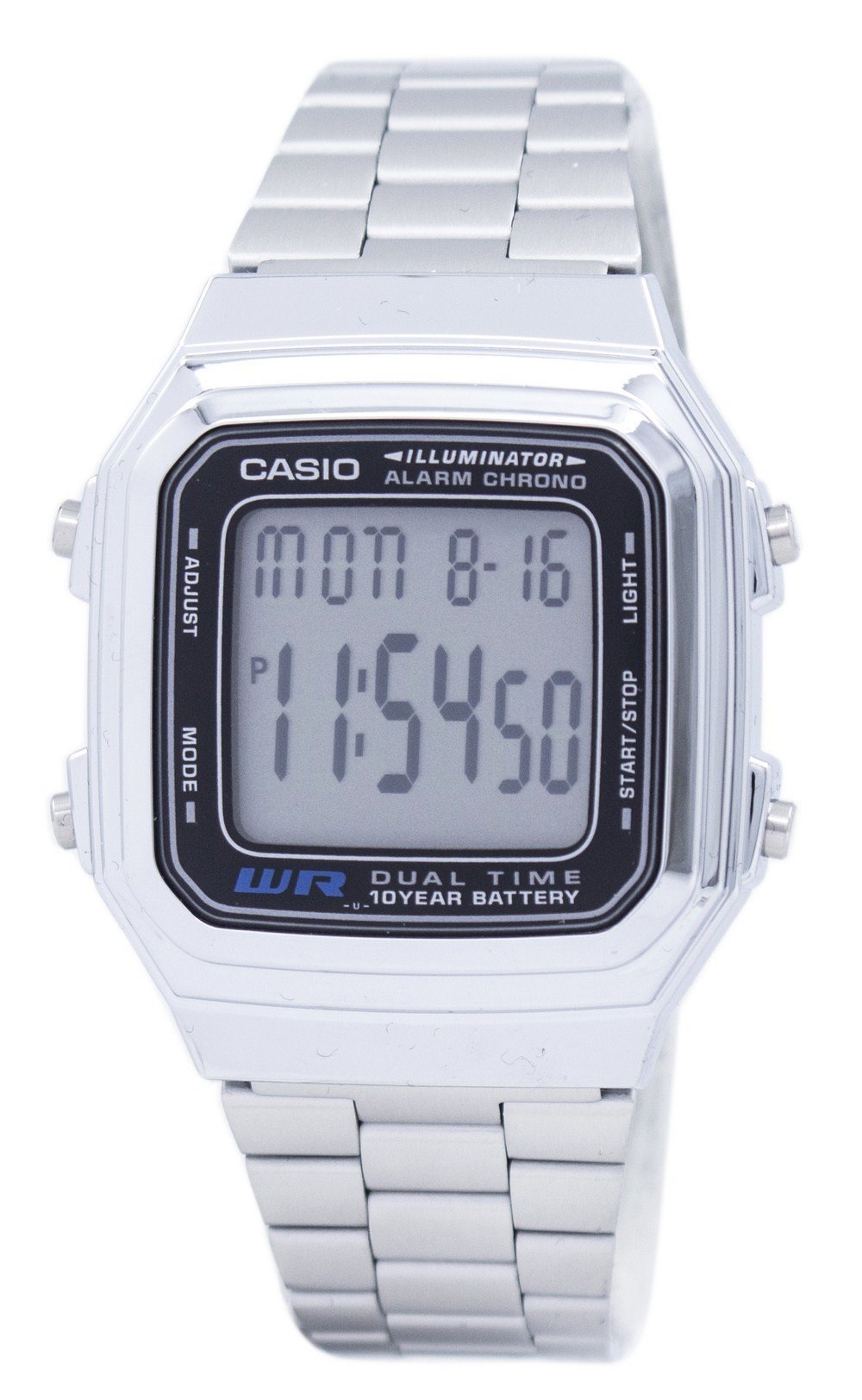 Casio Digital Stainless Steel Alarm Chrono Dual Time A178WA-1ADF A178WA-1A Men's Watch