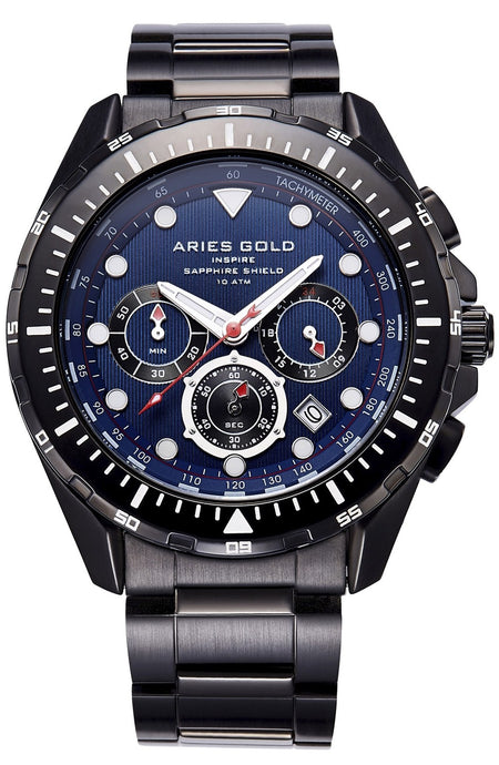 Aries Gold Inspire Atlantic Chronograph Quartz G 7002 BK-BU Men's Watch, best prices, cheapest, discount, new, Cruze Watches