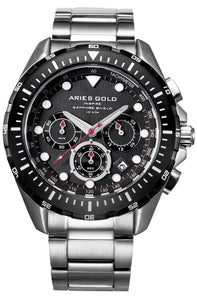 Aries Gold Inspire Atlantic Chronograph Quartz G 7002 SBK-BK Men's Watch, best prices, cheapest, discount, new, Cruze Watches