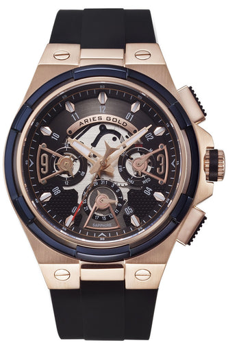 Aries Gold Inspire Lightning Quartz G 7003 2TRB-BKRG Men's Watch, best prices, cheapest, discount, new, Cruze Watches
