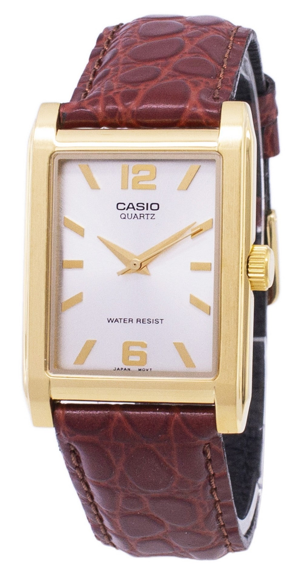 Casio Enticer Quartz Analog Silver Dial MTP-1235GL-7ADF MTP-1235GL-7A Leather Men's Watch