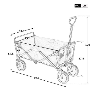 Foldable Garden Cart Pull Wagon Hand Cart Transport Collapsible Barrows