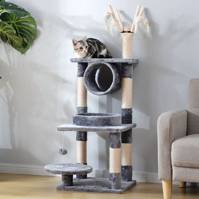 Small Cat Tree Tower Scratcher Activity Centres Scratching Post 124cm