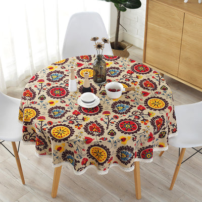 Ethnic Style Retro Lace Sunflower Cotton and Linen Tablecloth Multifunctional Cover