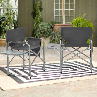 Set Of 2 Folding Director Chair With Side Table & Bag