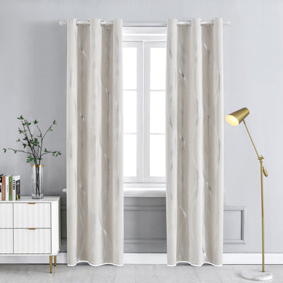 Beige 85% Blackout Curtains Streamline Foil Printed Thermal Insulated Curtains Window Treatment Eyelet Curtains