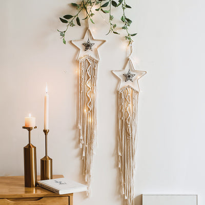Star Woven Macrame Wall Hanging Wedding Tapestry Decoration Backdrop Home Room Art Decor