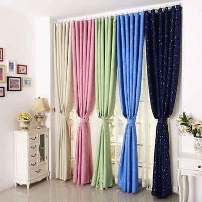 Green Star Sky Galaxy Window Blackout Curtains for Bedroom Eyelet Foil Printed Star Curtains