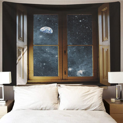 Starry Sky out of Window Wall Tapestry Home Decor Wall Hanging