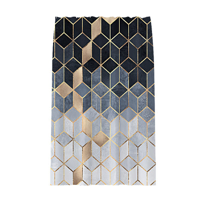 180x180cm Dark Blue Cubes with Golden Stripes Printing Shower Curtain Waterproof Polyester Bathroom Curtain