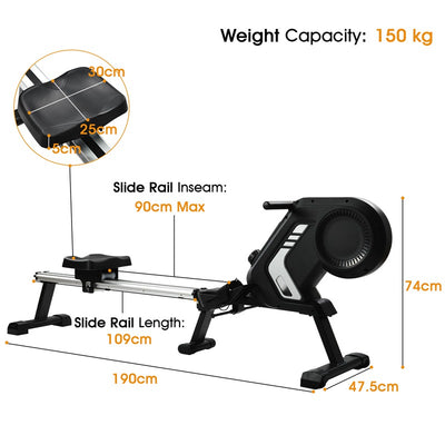 8 Resistance Levels Home Rowing Machine Adjustable Silent Magnetic Braking System Anti-Slip Fitness Cardio Workout