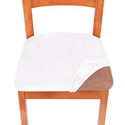 White Velvet Upholstered Stretch Dining Chair Seat Cushion Covers Protectors Removable Washable