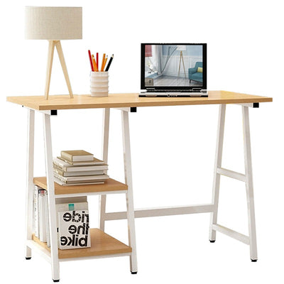 Sturdy Wooden Office Desk with 3 Shelves PC Table Workstation Writing Desk