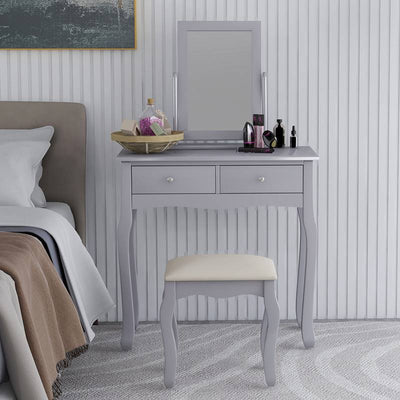 Elegant Dressing Table Set with Square Mirror Bedroom 80x40x76.5