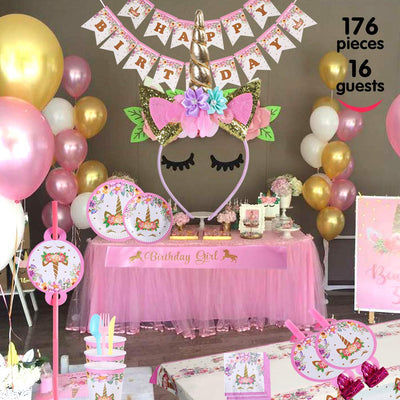 Unicorn Party Supplies Decorations Set 16 Guests 176 Pieces Birthday Party Bunting Straws Blowouts Whistles Headband Pink Satin Sash Girls