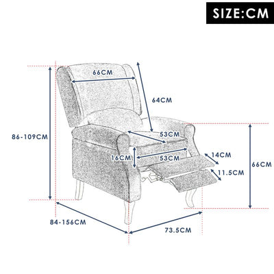 Modern Reclining Single Sofa TV Chair Armchair for Fireside Home Cinema
