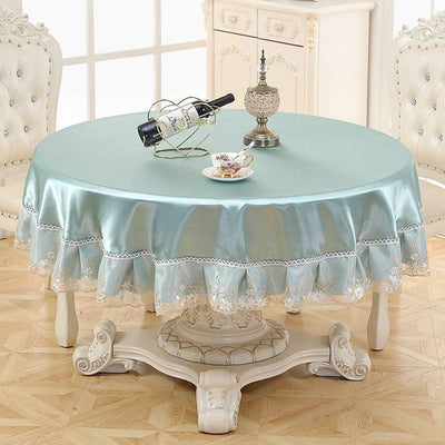 Round Luxurious Style Tablecloth Floral Table Cover for Circular Hot - resistant Cotton Linen