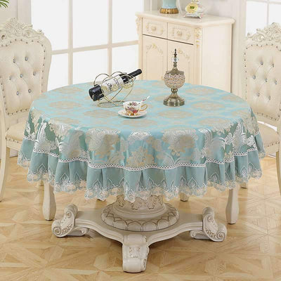 Large Round High-Grade Style Tablecloth Floral Table Cover for Circular Cotton Linen for Home Hotel Restaurant