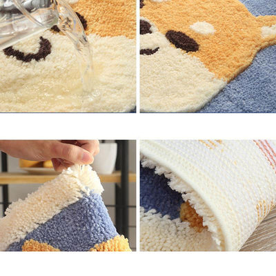 Puppy Non-Slip Bath Mat Thickened Fluffy Absorbent Rug Akita Corgi