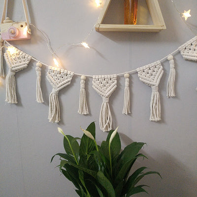 70*25cm White Pure Manual Weaving Bohemian Wall Hanging with Cotton Rope Home Decor