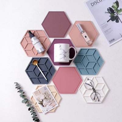 Pack of 6 Nordic Style Silicone Antiperm Pad Heat insulation Coasters Table Mat