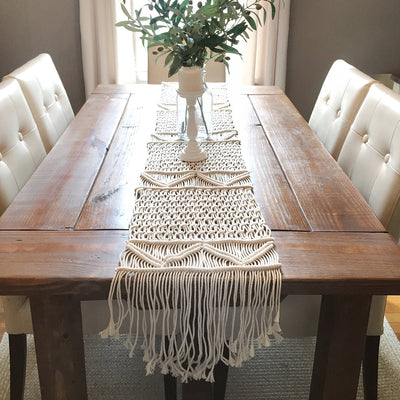 Nordic Woven Table Runner Hand-woven Table Blanket Wedding Banquet Decoration Tablecloth Eco-friendly Cotton Rope