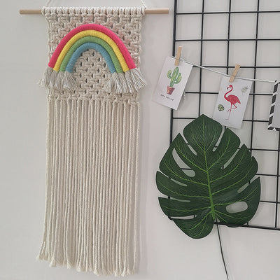 Rainbow Wall Hanging Hand-woven Ornaments with Tassels for Children's Room Living Room
