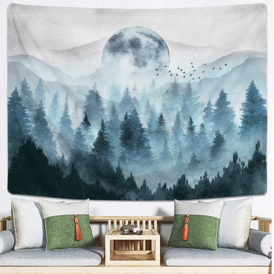 Misty Foggy Forest Tapestry Mountain Magical Night Moon Tree Wall Hanging Nature Landscape for Bedroom Living Room Dorm