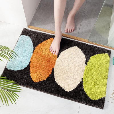 Non-slip Thicken Flocking Bath Mat Green Leaves Entrance Doormat Bedroom and Living Room Floor Mat