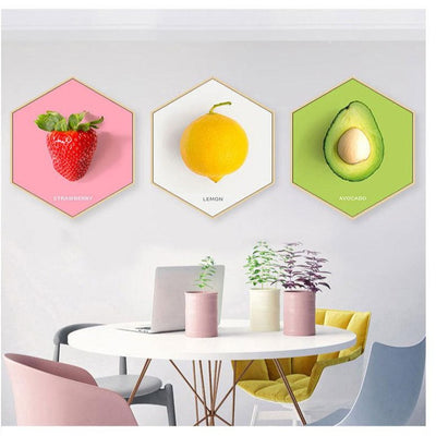 Kiwi Mural Nordic Modern Minimalist Hexagonal Paintings Restaurant Fruit Decorative Paintings Living Room