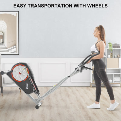 8 Level Elliptical Cross Trainer 5kg Flywheel, Magnetic Resistance, Pulse Heart Rate Monitor, Grips Cardio, Home Exercise Workout Weightloss