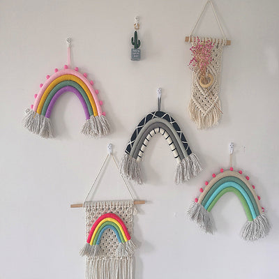 Rainbow Wall Hanging Hand-Woven with Clouds tassel Wall Art Hanging for Nursery Kids Room Decor Girls Gift Home Decoration