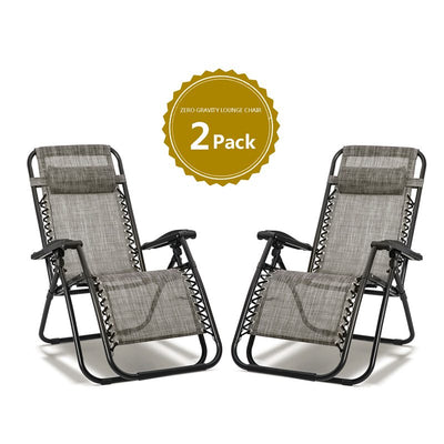 Zero Gravity Leisure Folding Chairs Set of 2 Heavy Duty Garden Outdoor Patio Sunloungers