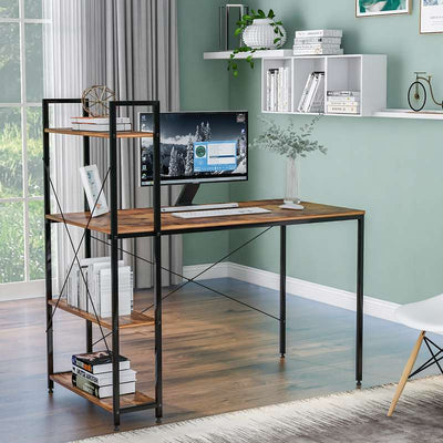 Computer Desk with 4 Tier Storage Shelves Wooden Office Table with Bookshelf for Home Office Workstation