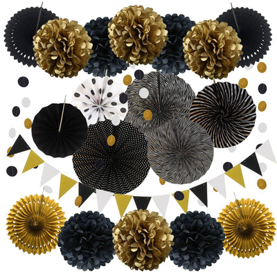 Party Decoration 20 Pcs Black and Gold Hanging Paper Fans Pom Poms Flowers Garlands String Polka Dot and Triangle Bunting Flags for Birthday Party Wedding Decor Fiesta Mexican Party