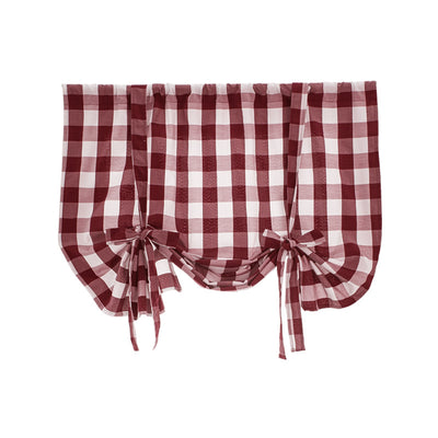 Red & White Classic Plaid Tie Up Curtain Rod Pocket Roman Curtain for Kitchen Adjustable Shade for Kitchen Balcony