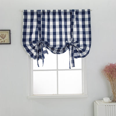 Blue & White Tie Up Classic Plaid Curtain Rod Pocket Roman Curtain for Kitchen Adjustable Shade for Kitchen Balcony