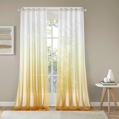 Yellow Sheer Curtains Modern Yarn Curtains for Living Room Bedroom Balcony 2 Panels