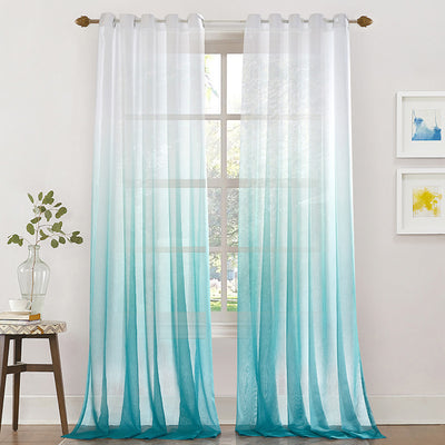 Blue Sheer Curtains Modern Yarn Curtains for Living Room Bedroom Balcony 2 Panels