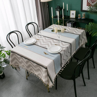 Nordic Style Modern Stripe Geometry Tassel Chenille for Polyester Table Cover for Parties Holiday Dinner Table