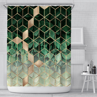 180x180cm Green Cubes with Golden Stripes Printing Shower Curtain Waterproof Polyester Bathroom Curtain