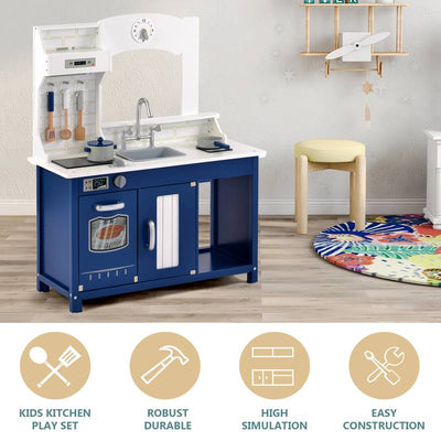 White&Blue Wooden Play Kitchen Toy for Kids 3+, Accessories Included, Children Cooking Role Play Pretend, Coffee Machine Washing Pool Gift for Boy Girl