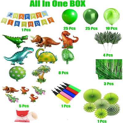 Dinosaur Birthday Party Decoration Set 92 Pcs Set With Dinosaur Themed Party Favors Include Dinosaurs Balloons Happy Birthday Banner Backdrop Paper Fan Curtains Pump